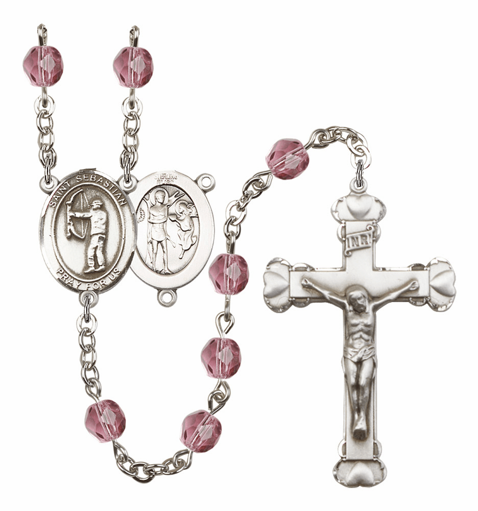 "Bliss St Sebastian Archery Patron Saint Birthstone Fire Polished Crystal Prayer Rosary ""More Colors"""