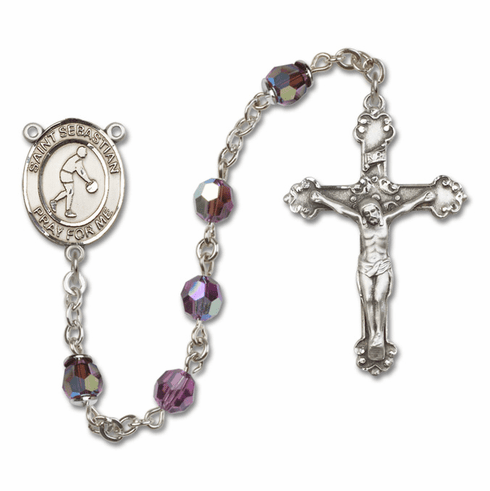 "Bliss St Sebastian Basketball Crystal Crystal Sterling, Gold-filled or 14kt Gold Rosaries ""More Options"""