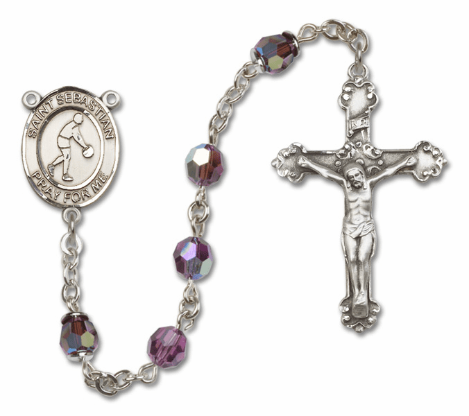 Bliss St Sebastian Basketball Crystal Crystal Sterling and Gold Rosaries - More Colors