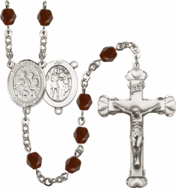 Bliss St Sebastian Choir Athlete Silver-Plated Birthstone Rosary