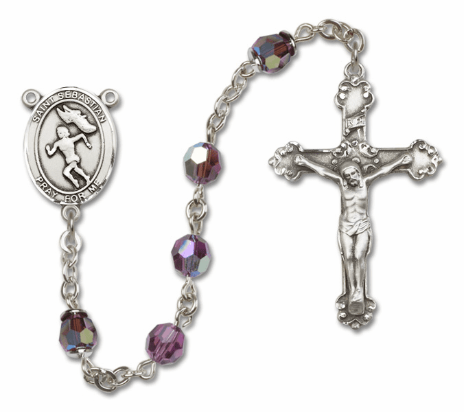 Bliss St Sebastian Female Track/Field Crystal Crystal Sterling and Gold Rosaries - More Colors