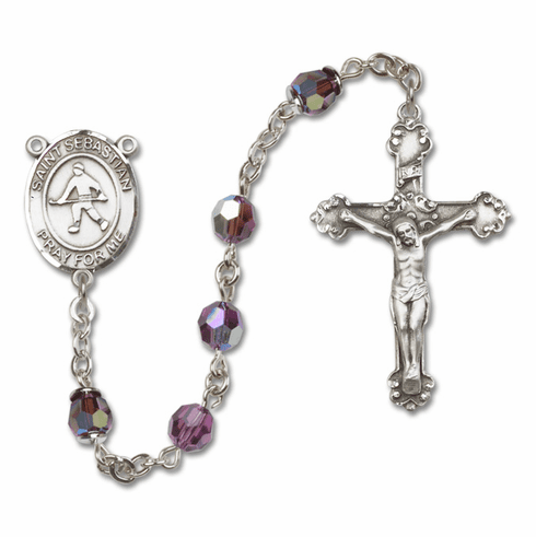 "Bliss St Sebastian Field Hockey Crystal Crystal Sterling, Gold-filled or 14kt Gold Rosaries ""More Options"""