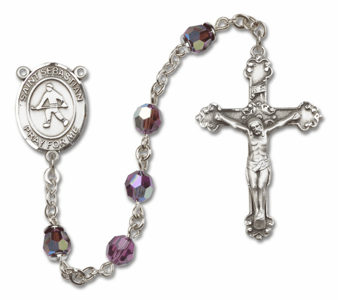 """Bliss St Sebastian Field Hockey Crystal Crystal Sterling, Gold-filled or 14kt Gold Rosaries """"More Options"""""""
