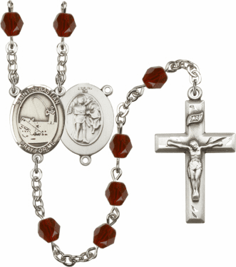 Bliss St Sebastian Fishing Athlete Silver-Plated Birthstone Rosary