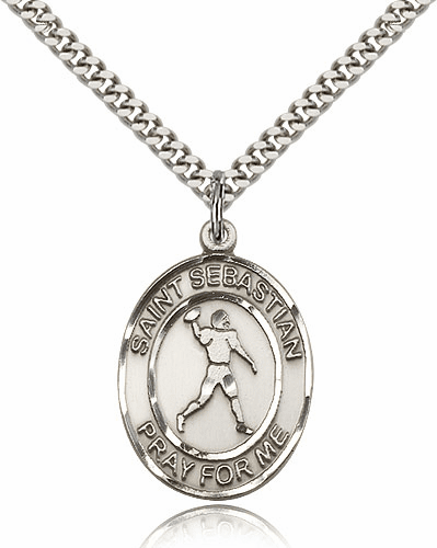 Bliss St Sebastian Football Silver-filled Saint Medal Necklace by Bliss