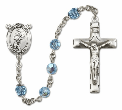 Bliss St Sebastian Girls Softball Sterling Silver Sports Rosary