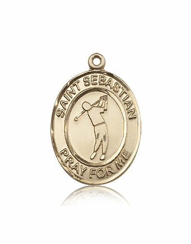 "Bliss St Sebastian Golf 14kt Gold Sports Medal Pendant ""More Sizes"""