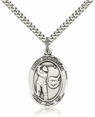 "Bliss St Sebastian Golf Pewter Patron Saint Necklace ""More Sizes"""