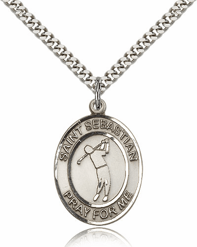 "Bliss St Sebastian Golf Silver-Filled Patron Saint Medal ""More Sizes"""