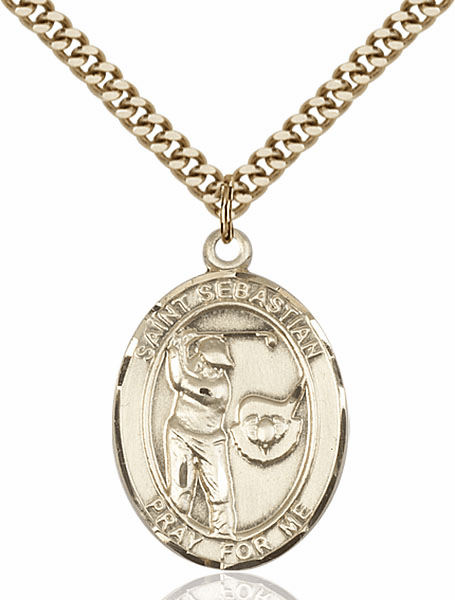 "Bliss St Sebastian Golf Sports 14kt Gold-Filled Pendant Necklace ""More Sizes"""