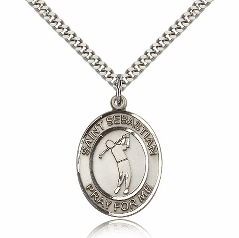 "Bliss St Sebastian Golf Sports Sterling Silver Pendant Necklace ""More Sizes"""