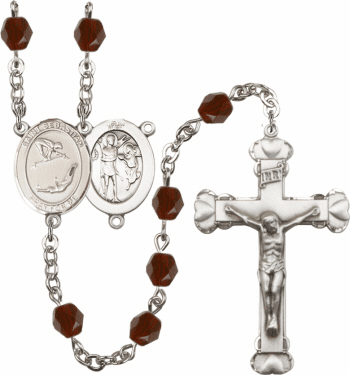 Bliss St Sebastian Gymnastics Athlete Silver-Plated Birthstone Rosary