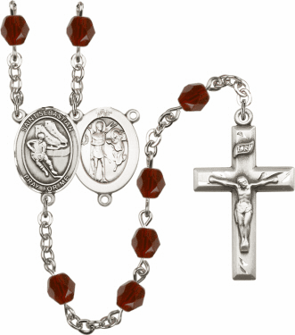 Bliss St Sebastian Hockey Athlete Silver-Plated Birthstone Rosary