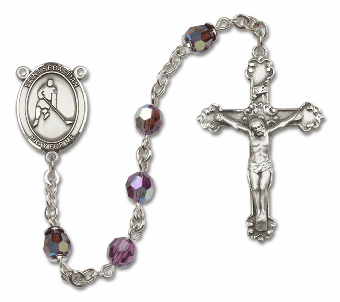 """Bliss St Sebastian Ice Hockey Crystal Crystal Sterling, Gold-filled or 14kt Gold Rosaries """"More Options"""""""