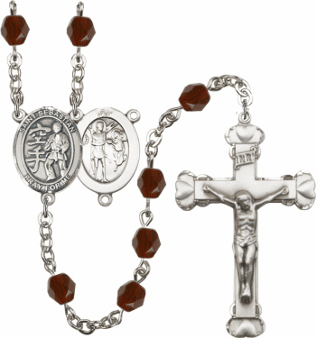 Bliss St Sebastian Karate Athlete Silver-Plated Birthstone Rosary