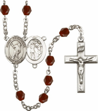 Bliss St Sebastian Lacrosse Athlete Silver-Plated Birthstone Rosary