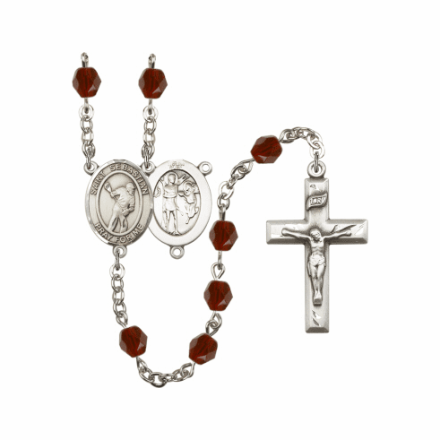 Bliss St Sebastian Lacrosse Athlete Birthstone Rosary - More Colors