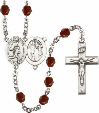 Bliss St Sebastian Men Track and Field Athlete Silver-Plated Birthstone Rosary