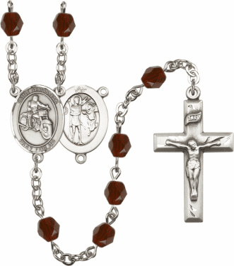 Bliss St Sebastian Motorcycle Athlete Silver-Plated Birthstone Rosary