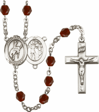 Bliss St Sebastian Rodeo Athlete Silver-Plated Birthstone Rosary