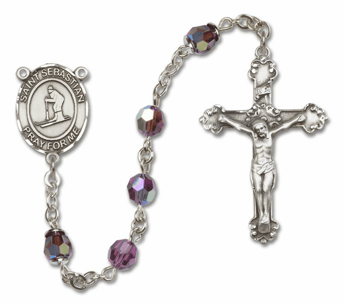"""Bliss St Sebastian Skiing Crystal Crystal Sterling, Gold-filled or 14kt Gold Rosaries """"More Options"""""""