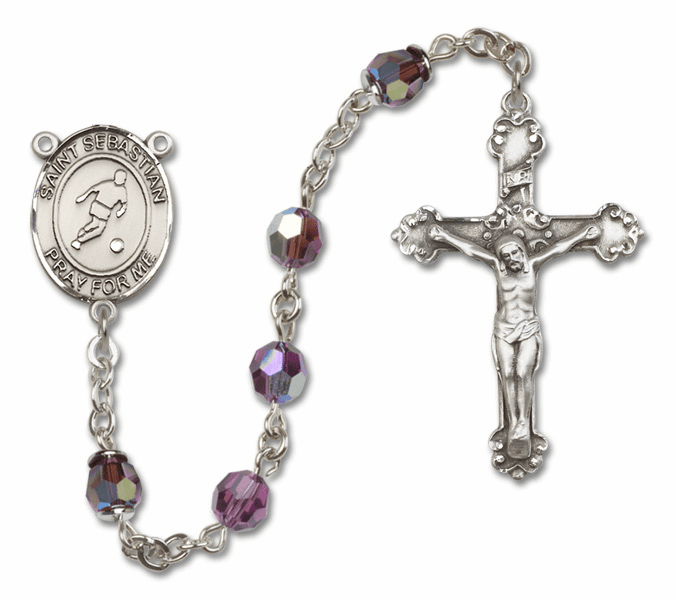 Bliss St Sebastian Soccer Crystal Crystal Sterling and Gold Rosaries - More Colors