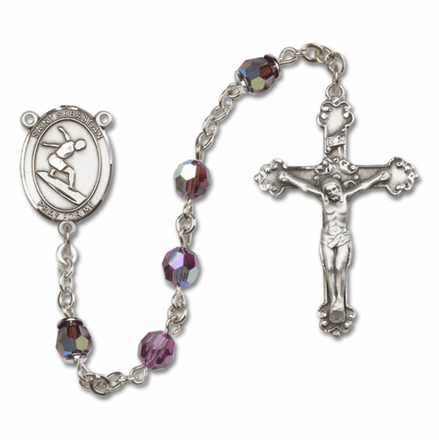 "Bliss St Sebastian Surfing Crystal Crystal Sterling, Gold-filled or 14kt Gold Rosaries ""More Options"""