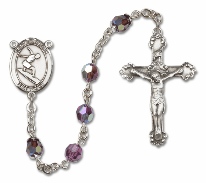 Bliss St Sebastian Surfing Crystal Crystal Sterling and Gold Rosaries - More Colors