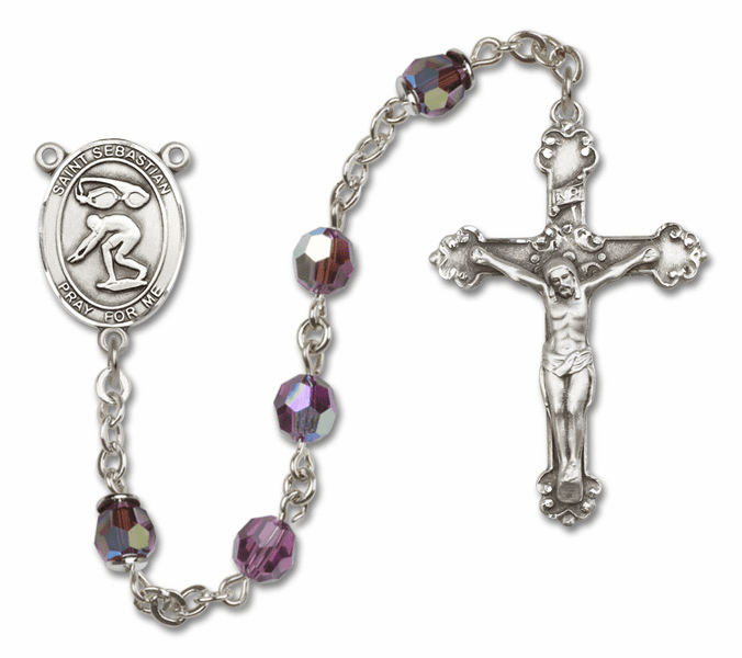 """Bliss St Sebastian Swimming Crystal Crystal Sterling, Gold-filled or 14kt Gold Rosaries """"More Options"""""""