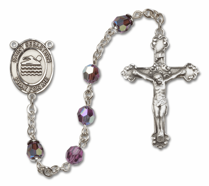 Bliss St Sebastian Swimming Crystal Crystal Sterling and Gold Rosaries - More Colors