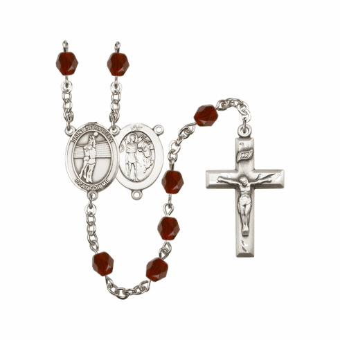 Bliss St Sebastian Volleyball Athlete Silver-Plated Birthstone Rosary