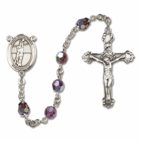 """Bliss St Sebastian Volleyball Crystal Crystal Sterling, Gold-filled or 14kt Gold Rosaries """"More Options"""""""