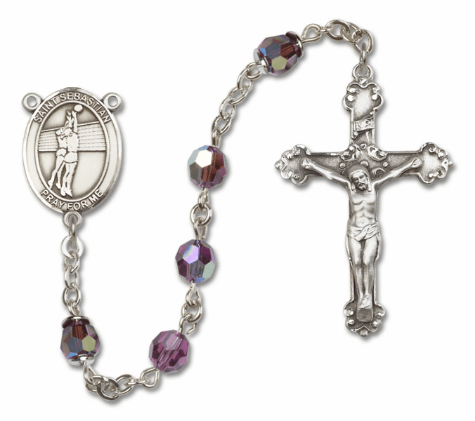 Bliss St Sebastian Volleyball Crystal Crystal Sterling and Gold Rosaries - More Colors