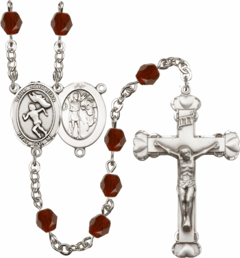 Bliss St Sebastian Women Track and Field Athlete Silver-Plated Birthstone Rosary