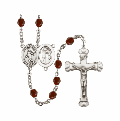 Bliss St Sebastian Women Track/Field Athlete Birthstone Crystal Rosary - More Colors