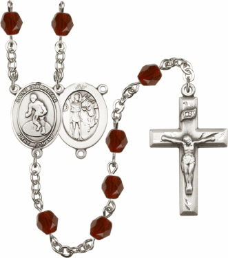 Bliss St Sebastian Wrestling Athlete Silver-Plated Birthstone Rosary