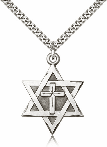 Bliss Star of David Sterling Silver Necklace with Cross