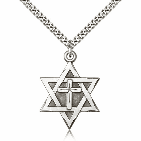 Bliss Mfg Star of David Sterling Silver Pendant with Cross Necklace