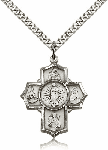 Bliss Sterling Silver 5-Way Motherhood Cross Medal Necklace
