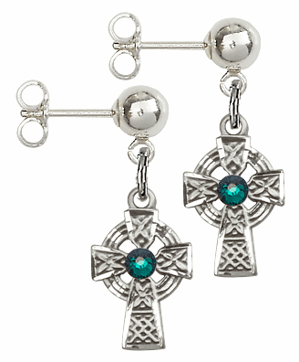 Bliss Sterling Silver Celtic Cross Ball Post Earrings w/Emerald Swarovski Crystal