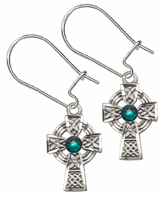 Bliss Sterling Silver Celtic Cross Dangle Earrings w/Emerald Crystal