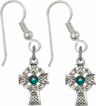 Bliss Sterling Silver Celtic Cross Fish Wire Earrings w/Emerald Crystal