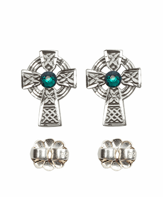 Bliss Sterling Silver Celtic Cross Post Earrings w/Emerald Crystal