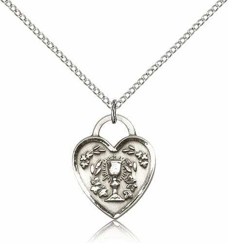 Bliss Sterling Silver Communion Heart Pendant Necklace