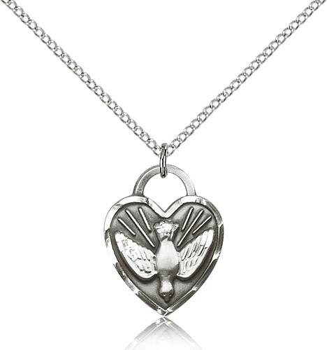 Bliss Sterling Silver Confirmation Holy Spirit Dove Heart Pendant Necklace