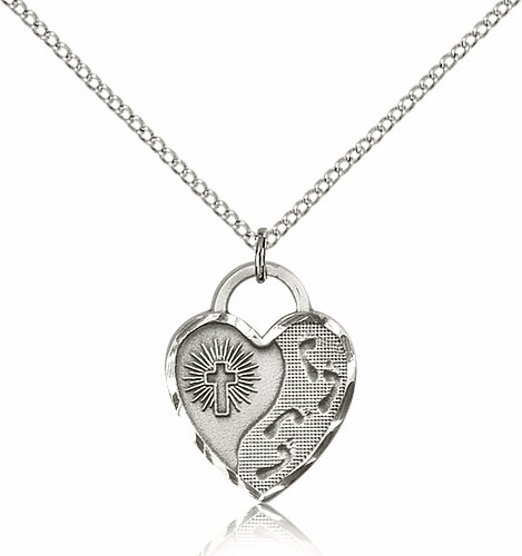 Bliss Sterling Silver Footprints Heart Pendant Necklace