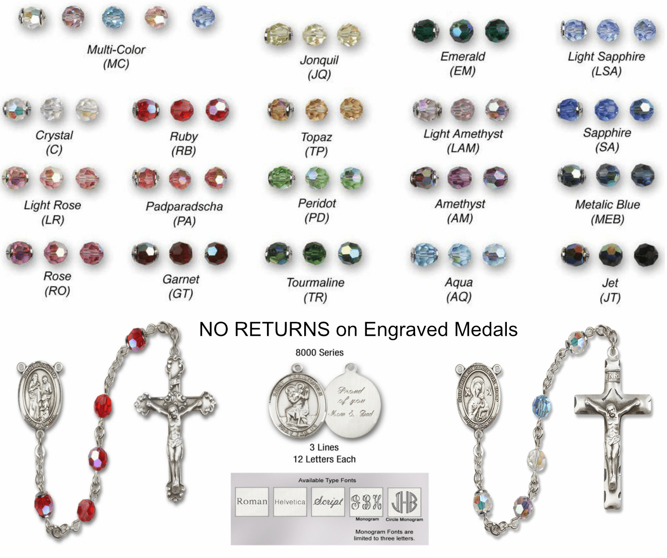 Bliss Sterling Silver, Gold-filled and 14kt Gold Rosary Engraving and Color Options