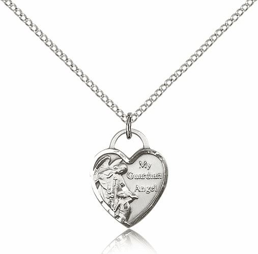 Bliss Sterling Silver Guardian Angel Heart Pendant Necklace