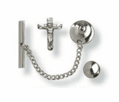 Bliss Sterling Silver Hand-Engraved Crucifix Cross Tie Tacs Medal