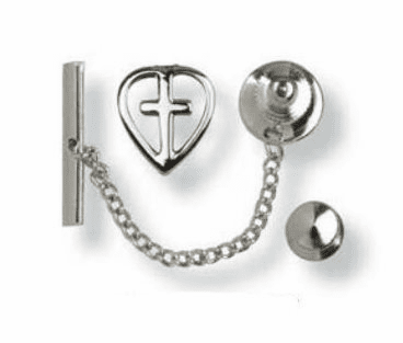 Bliss Sterling Silver Heart with Cross Tie Tac Medal